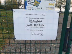 Hundeauslaufzone am 1.11.2018 gesperrt!