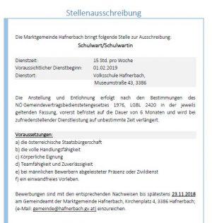 Stellenausschreibung Schulwart/Schulwartin