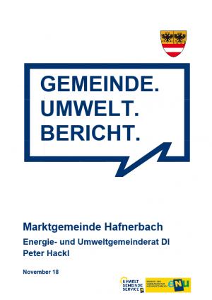 Gemeinde Umweltbericht der Marktgemeinde Hafnerbach