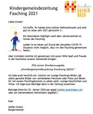 Einladung zum Mitmachen: Kindergemeindezeitung Fasching